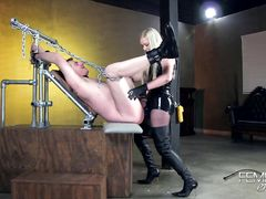 Три строгие госпожи пустили задницу раба по кругу