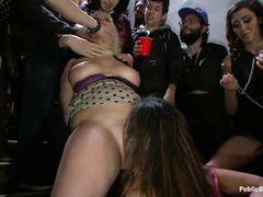 Жесткое издевательство над двумя телочками на приватной секс вечеринке