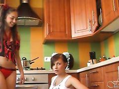 Домашние стриптиз танцы в исполнении двух юных красоток с нежными писями
