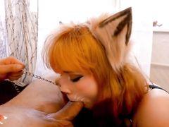 Рыженькая девочка лисичка порадовала парня домашним минетом от 1 лица