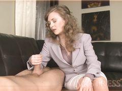 Деловая жена в костюме дрочит мастурбатором член любимого мужа