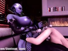 Прислужница дрочит большой член футанари инопланетной телки