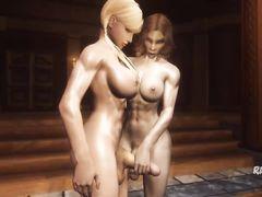 Мускулистая девчонка наяривает рукой член своей подруги транса