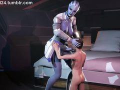 Крупная инопланетянка с членом футанари заставляет сосать малышку