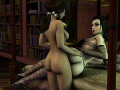 В старинной библиотеке служительница культа в чулках раскрывает манду перед трансом футанари