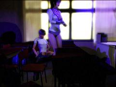 Опытная девчонка учит сексу 18-летнего очкарика в ХХХ мультике