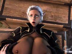 Эльфийка с большими грудями между сисек дрочит хуй случайному любовнику