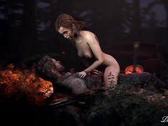 На фоне костра в лесу голая ведьма отдается крестьянину