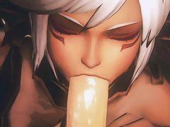 Две сексуальные эльфийки сосут от первого лица член мульт героя