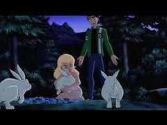 """Любительница природы из мультика """"Бен 10"""" трахается в лесу с парнем"""