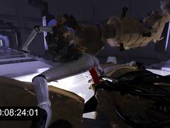 Сисястая девочка киборг жестко трахается с большими роботами