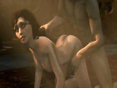 """Распутная шлюшка Элизабет из """"BioShock"""" ебется в мульт подборке"""