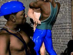 Негры ебут девушку в подворотне на глазах ее парня в 3D мультике