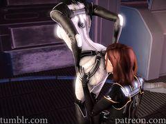 Героини компьютерной игры Mass Effect трахаются членами футанари