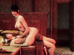 Рабыня подсматривает за трахающейся госпожой в мульте для взрослых