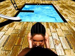 Мульт героиня в 3D трахается у бассейна с бойфрендом